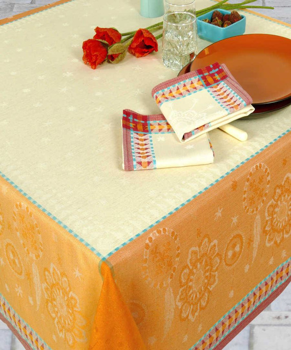 Nappe Jacquard Lin Rectangulaire 250 cm Cheyenne Cendre