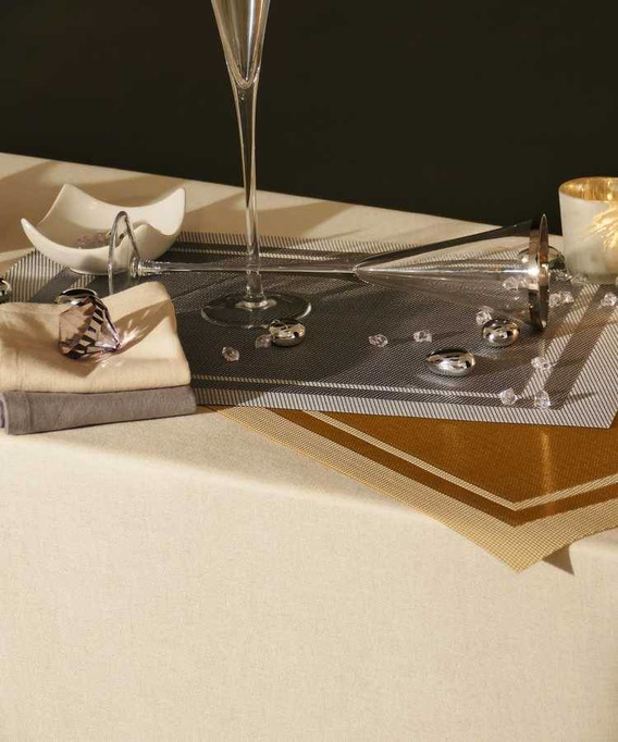 Lot 6 Sets de tables placé bicolore anti tache 33x46cm Yuko Argent