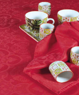 6 Serviettes de table Jacquard Faro Rubis