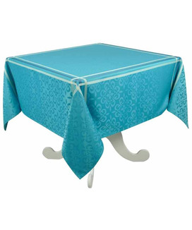 Nappe 150x150 cm Jacquard Polyester Enduite Bilbao Turquoise