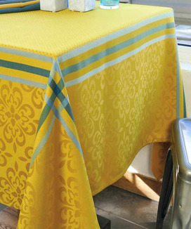 Nappe Jacquard 150x250 cm Polyester Enduite Bilbao Curry