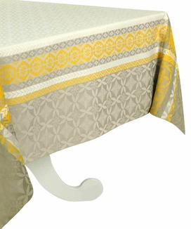 Nappe Enduite Rectangulaire Jacquard 250 cm Maréva Curry